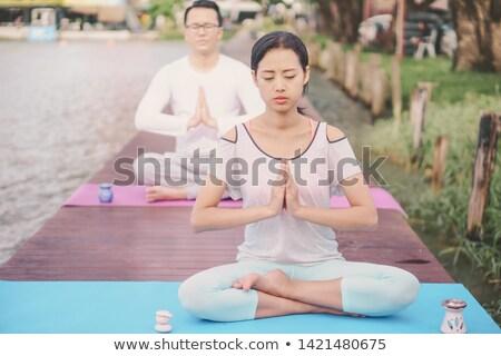 два · молодые · сидят · йога · реке · здорового - Сток-фото © Freedomz