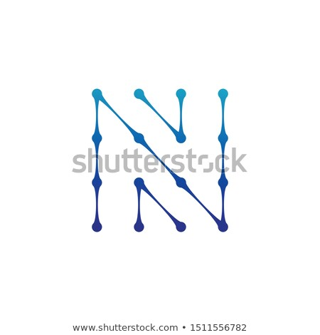 Letter N Logo consisted of dots and lines, molecular structure. Stock Vector illustration isolated o Stock photo © kyryloff