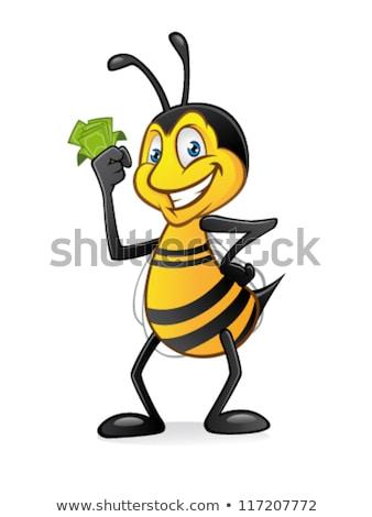 Felice ape mascotte carattere contanti illustrazione Foto d'archivio © hittoon