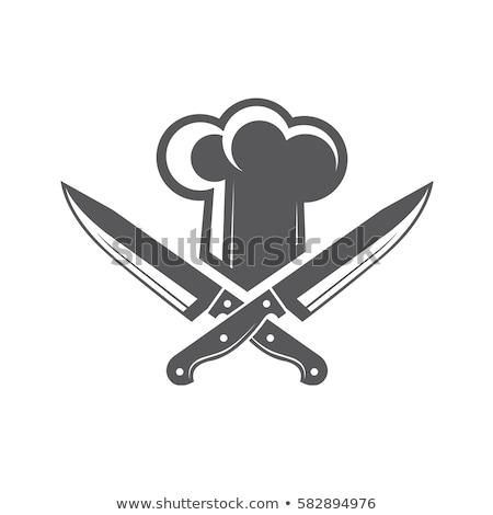 Coltelli metallico pasto utensili da cucina in bianco e nero vettore Foto d'archivio © pikepicture