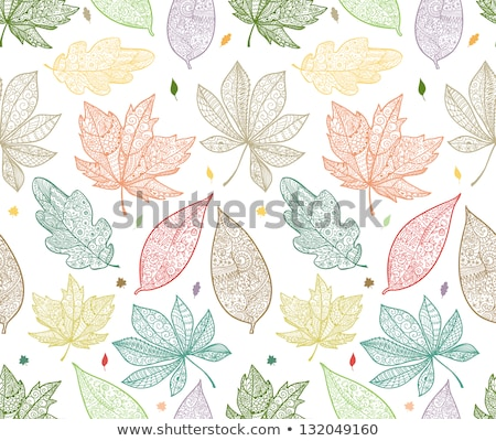 Fall Seamless forest pattern with stylized autumn leaves and cut Stock photo © Margolana