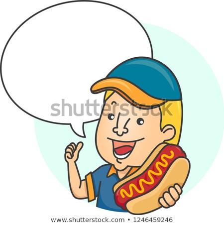 Man Hotdog Speech Bubble Illustration Stock photo © lenm