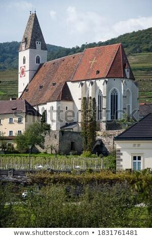 Iglesia Austria tarde gótico nubes reloj Foto stock © borisb17