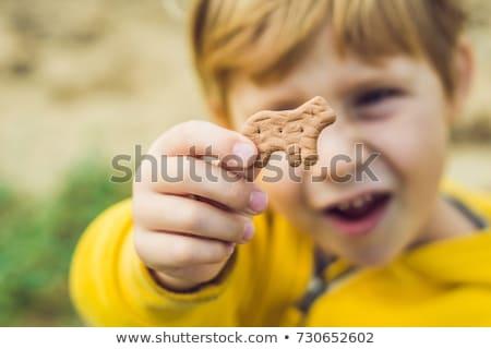 Kind Essen Cookie Natur Essen Gesicht Stock foto © galitskaya