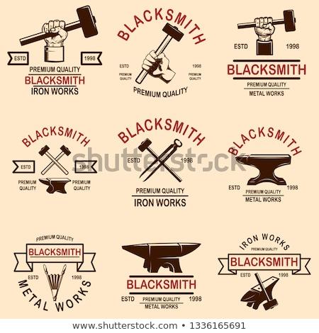 Stock fotó: Set Of Blacksmith Design Elements Anvil Hammers Blacksmith Tools For Logo Label Sign Badge