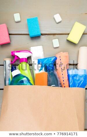 Pełny torby papierowe inny domu czyszczenia produktu Zdjęcia stock © Illia