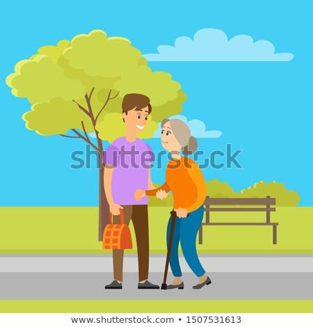 Voluntario ayudar edad abuelita bolsa Foto stock © robuart