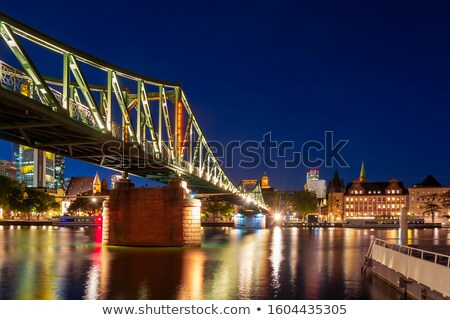 Footbridge accross the Main river in Frankfurt at night Stock photo © manfredxy