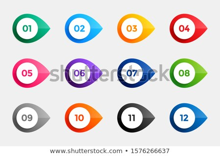 bullet points from one to twelve in many colors Stock photo © SArts