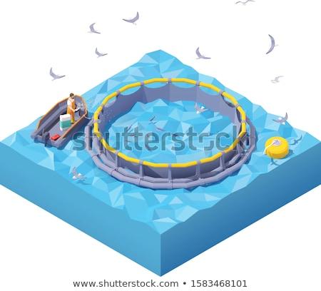 Wektora izometryczny ryb gospodarstwa pracownika Zdjęcia stock © tele52