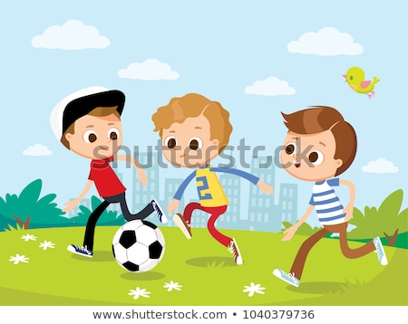 Kids Playing Ball in the Playground Illustration Stock photo © artisticco