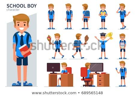 Junge Schuluniform Sitzung Schreibtisch weiß Illustration Stock foto © bluering