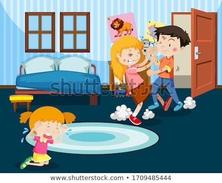 Huiselijk geweld scène mensen vechten home illustratie Stockfoto © bluering