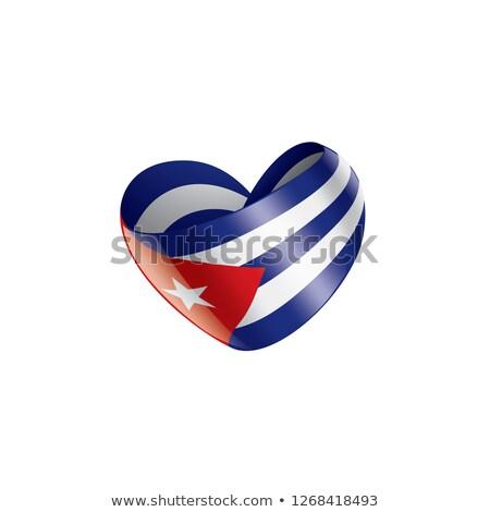 Bandeira Cuba forma coração amor Foto stock © butenkow