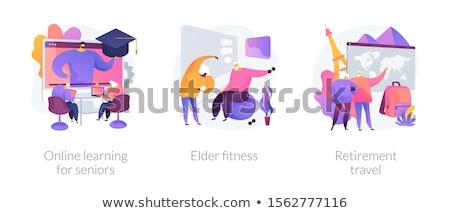 Oktatás idős emberek absztrakt metaforák idős pénzügyi biztonság Stock fotó © RAStudio