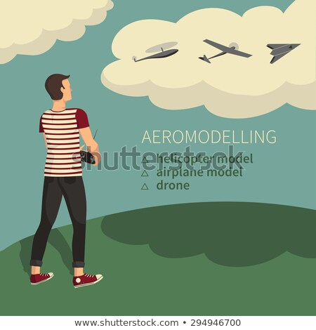 Man, Plane Model Aircraft Modelling Hobby. Vector Stock photo © robuart