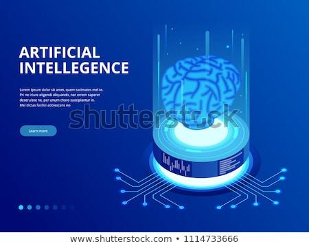 киборг искусственный интеллект изометрический икона вектора знак Сток-фото © pikepicture