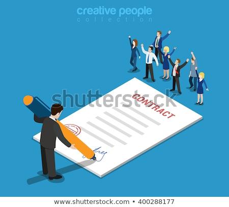 契約 署名 ベクトル メタファー 契約 確認 ストックフォト © RAStudio