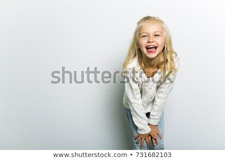 quatro · anos · menina · little · girl · em · pé · fechado - foto stock © sapegina