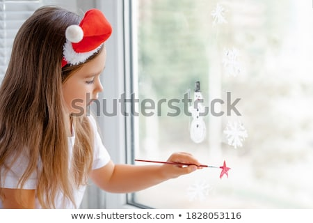 girl paints house on glass Stock photo © Paha_L