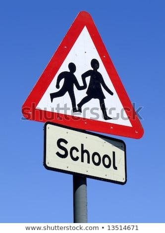 дорожный · знак · предупреждение · защиту · детей · школы · питомник - Сток-фото © latent