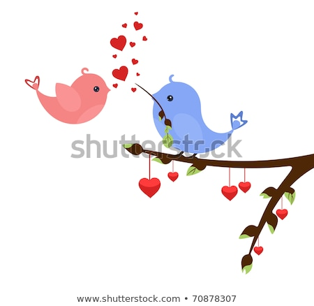 Stock photo: abstract blue bird with valentine heart