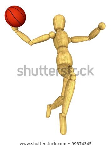 manequim · 3D · prestados · madeira · basquetebol · laranja - foto stock © garyfox45116