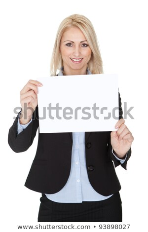 Brunette businesswoman holding messageboard Stock photo © photography33