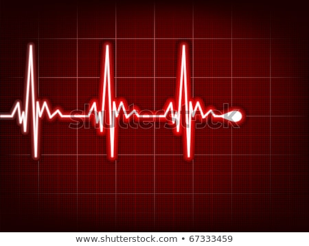 Stock photo: Heart cardiogram with shadow on red. EPS 8