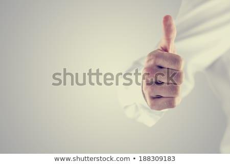 восторженный человека знак лице фон синий Сток-фото © photography33