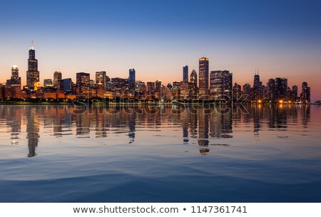 naplemente · Chicago · panoráma · sziluett · öreg · égbolt - stock fotó © backyardproductions