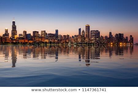 tramonto · Chicago · panorama · skyline · vecchio · cielo - foto d'archivio © backyardproductions