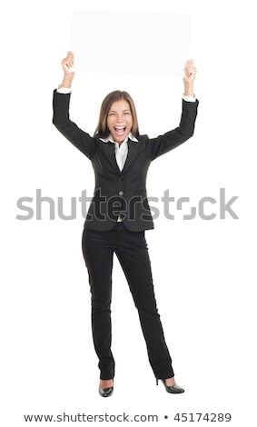 Women enthusiastically holding up a blank sign Stock photo © photography33
