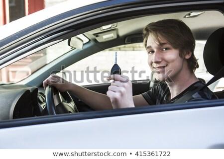 Tizenéves fiú vezetés licenc boldog portré farmer Stock fotó © photography33