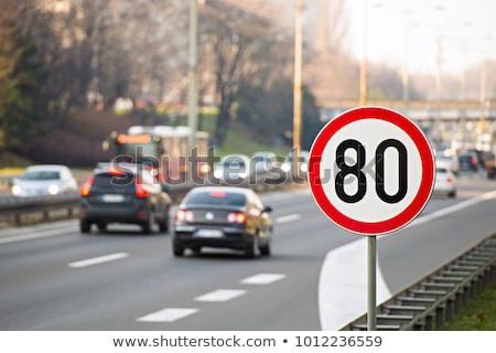 száguld · korlát · fehér · autómobil · sebességmérő · piros - stock fotó © experimental