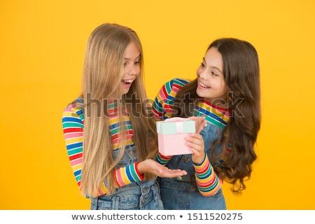 Gracias regalo sonriendo dama a rayas suéter Foto stock © Novic