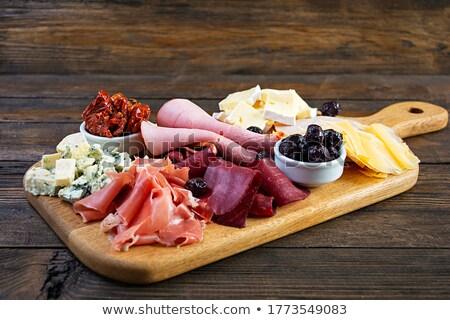 Foto stock: Antipasti · placa · parmesano · aceitunas · madera