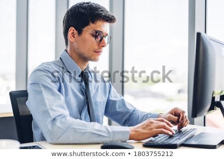 Business desktop laptop notepad koffie pen Stockfoto © designsstock