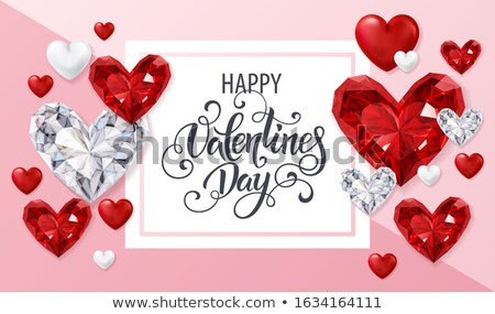 Valentine s day greeting card  with ruby heart , vector illustration Stock photo © carodi