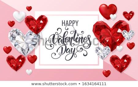 Valentine dia cartão rubi coração projeto Foto stock © carodi