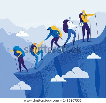 Foto stock: Equipe · topo · congelada · cachoeira · gelo · homens