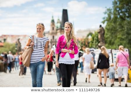 Dois feminino turistas caminhada ponte turismo Foto stock © lightpoet