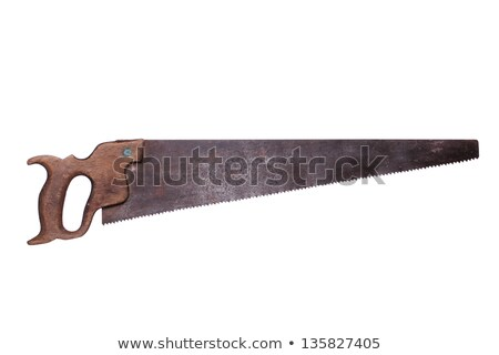 Stock photo: very old saw with wooden handle