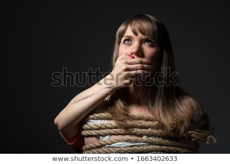 Kadın rehin genç kadın ağız kız eller Stok fotoğraf © kyolshin