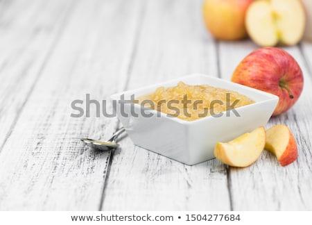 Domowej roboty jabłko sos biały puchar Zdjęcia stock © TeamC