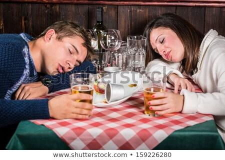 Cena Italia tavola ristorante italiano bottiglia di vino acqua Foto d'archivio © Hofmeester