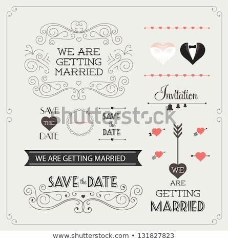 Vecteur rétro invitation de mariage coeurs pourpre typographie Photo stock © orson
