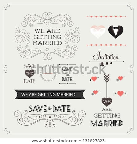 Vektor Retro Hochzeitseinladung Herzen lila Typografie Stock foto © orson