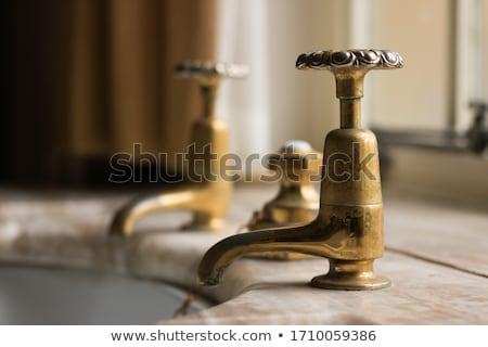 öreg · vízcsap · beton · fal · fém · rozsda - stock fotó © artlover