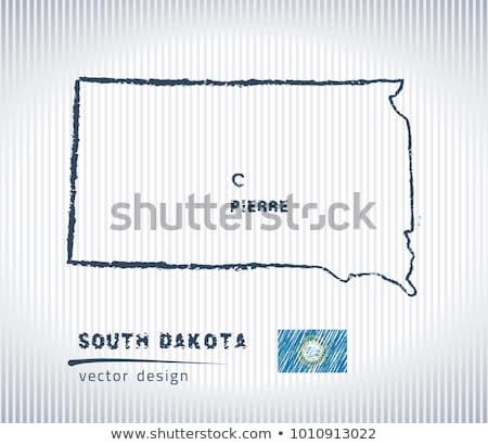 Harita Güney Dakota tahta çizim kara tahta Stok fotoğraf © vepar5